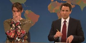 That's Stefon on the left, with Weekend Update anchor and apple-of-Stefon's-eye Seth Meyers on the right.