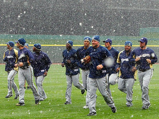 Brewers in snow