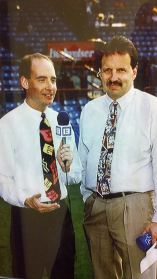 That's Steve on the right, in beautiful days, with former Chiefs and current Cincinnati Bengals broadcaster Dan Hoard on the left.