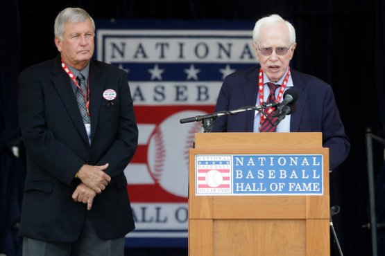 That's Jobe on the right, being honored by the National Baseball Hall of Fame last summer, with John on the left.