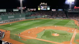 Fenway Park in Boston. Note the flagpole in centerfield, to the right of the light tower (Courtesy Google Images).