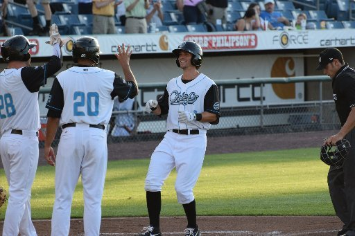 Ricky Hague celebrates after homering in his first Chiefs at-bat. (Courtesy Syracuse Chiefs)