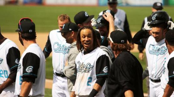 Jason Martinson feels the love after his walk-off home run April 21st, 2015