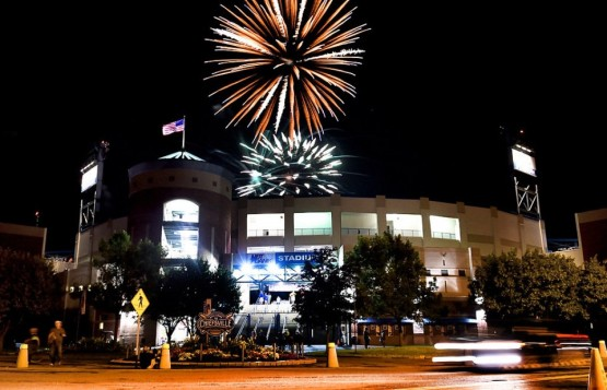 Fireworks over NBT Bank Stadium after the Chiefs' 11th straight win (Courtesy Kevin Rivoli/syracuse.com)