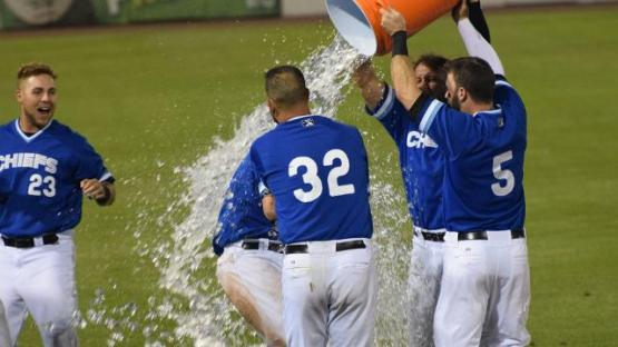 Steve Lerud got the gatorade bath after the Chiefs come from behind 5-4 win on July 30th (Jeff Irizarry)